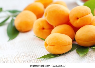 Ripe sweet apricots on the table