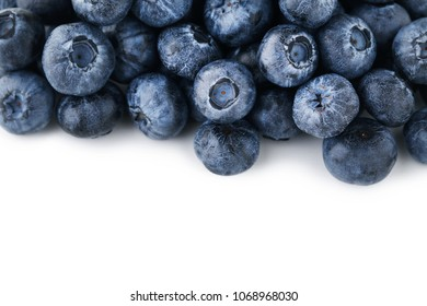 Ripe and sweet blueberries on white background