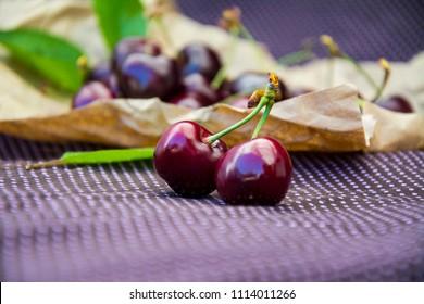 Ripe sweet cherry. Fresh berries.