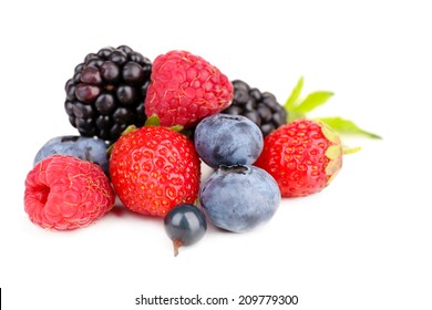 Ripe sweet different berries, isolated on white