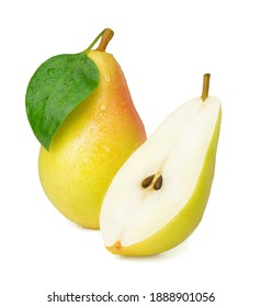Ripe sweet pear isolated on white background