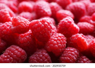 Ripe sweet raspberries close-up