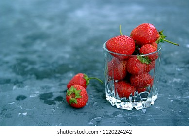 Ripe sweet strawberries in a glass. Summer concept