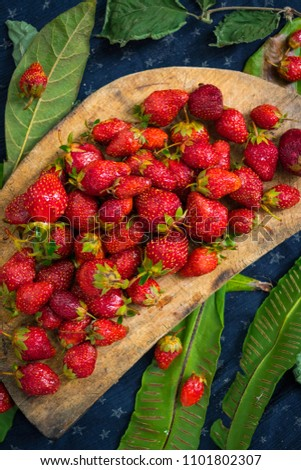 Ripe and sweet strawberry on rustic wooden board. Farm harvest of organically grown product for healthy life full of summer vitamins.