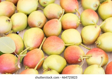 Ripe sweet yellow red pears background