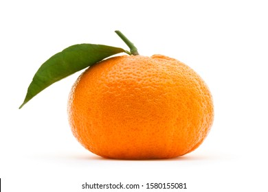 Ripe tangerine with leaf isolated on white background