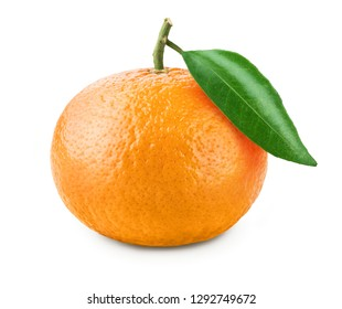 Ripe tangerine with leaves citrus on white background