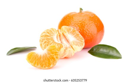 Ripe tangerines with leaves isolated on white background
