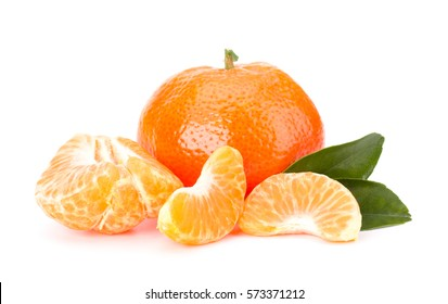 Ripe tangerines with leaves and segments isolated on white background
