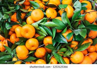 ripe tangerines at the market on street