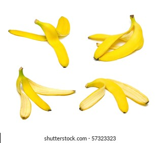 Ripe and tasty banana peel set isolated on white