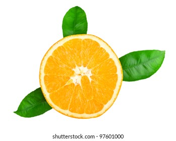 Ripe tasty orange isolated on white background