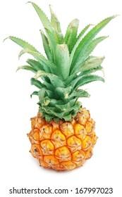 Ripe tasty pineapple isolated on white background