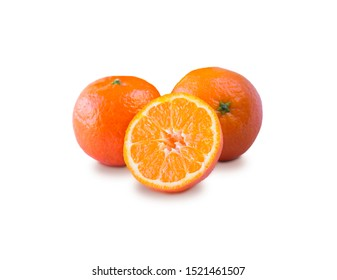 Ripe and tasty tangerines isolated on white background. Fresh clementines with copy space for text. Mandarin slice isolated on white background.