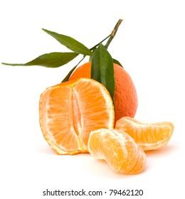 Ripe tasty tangerines isolated on white background