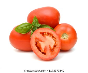Ripe tomatoes and basil herb leaves on white background
