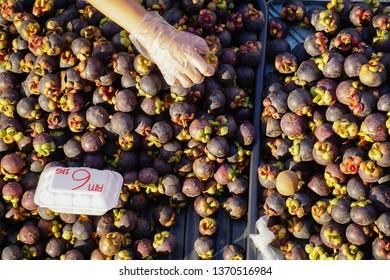 Ripe tropical fruits mangosteen.