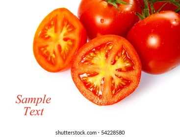 Ripe Truss Tomatoes isolated over white background