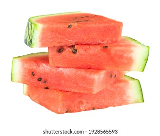Ripe watermelon slices isolated on white, sliced watermelon cut out, UK