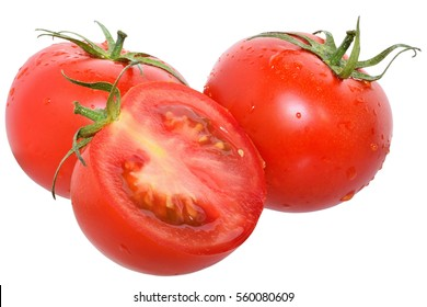 Ripe wet cut tomato isolated on a white background.