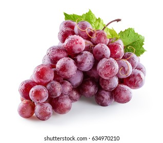 Ripe wet red grape. Pink bunch with drops isolated on white. With clipping path. Full depth of field.