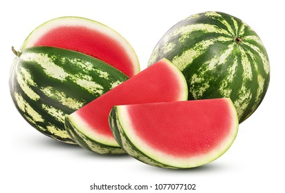 Ripe whole and cut watermelon without ossicle with slice isolated on white background. Clipping Path. Full depth of field.