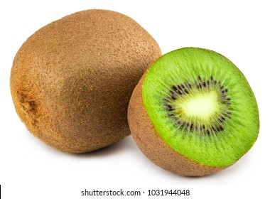 Ripe whole kiwi fruit and half kiwi fruit isolated on white background.