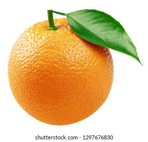 Ripe whole orange citrus fruit with green leaf isolated on white background. Orange with clipping path. Full depth of field.