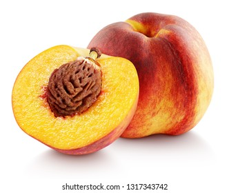 Ripe whole peach fruit with half isolated on white background with clipping path. Full depth of field.