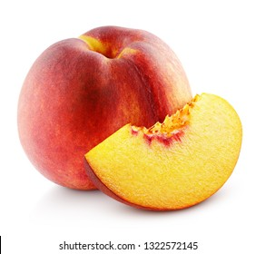 Ripe whole peach fruit with slice isolated on white background with clipping path. Full depth of field.