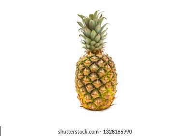 Ripe whole pineapple fruit isolated on white background