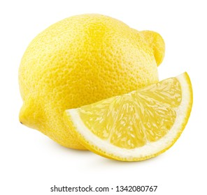 Ripe whole yellow lemon citrus fruit with lemon slice isolated on white background with clipping path. Full depth of field.