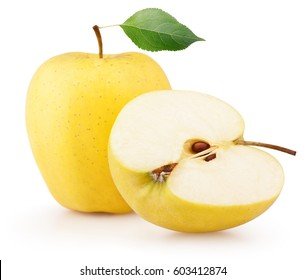 Ripe yellow apple fruit with green leaf and apple half isolated on white background
