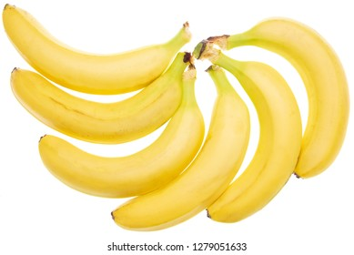 Ripe yellow bananas isolated on white background .