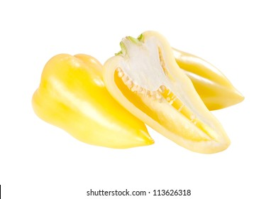 Ripe yellow half and whole sweet pepper isolated on white background