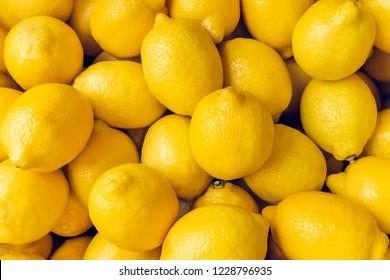 Ripe Yellow Lemons Close-up Background Or Texture. Lemon Harvest, Many Yellow Lemons.