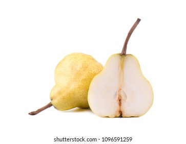 Ripe yellow pears with leaf isolated on white background