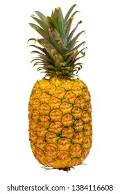 Ripe yellow pineapple on a white isolated background
