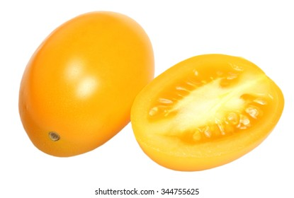 Ripe yellow tomato it is isolated on a white background