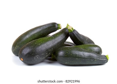 Ripe zucchini isolated on a white background