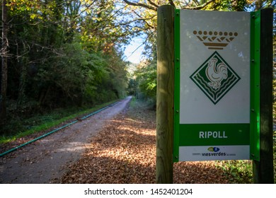 RIPOLL,SPAIN-OCTOBER 25,2018:Ruta del Ferro, Iron and Coal Route, Old railway transformed in trail walk or bike ride. Villages of Sant Joan de les Abadesses and Ripoll,