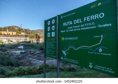RIPOLL,SPAIN-OCTOBER 25,2018:Ruta del Ferro, Iron and Coal Route, Old railway transformed in trail walk or bike ride. Villages of Sant Joan de les Abadesses and Ripoll