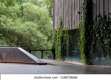 RIPOLL,SPAIN-SEPTEMBER 4,2018:Modern architecture,Public space Teatre La Lira by RCR Arquitectes,Ripoll,Catalonia,Spain.
