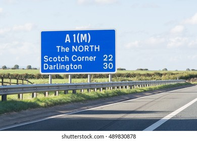 RIPON, NORTH YORKSHIRE, ENGLAND - 25 SEPTEMBER 2016: A1(M) The North sign