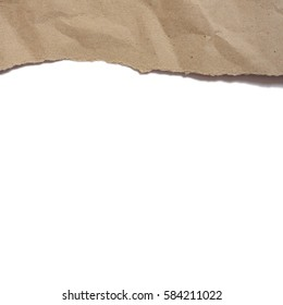 ripped brown paper with space for text on white background