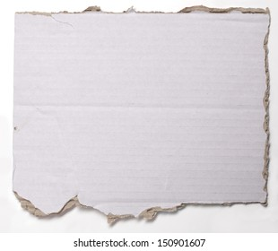 ripped  crumpled piece of cardboard isolated on white.