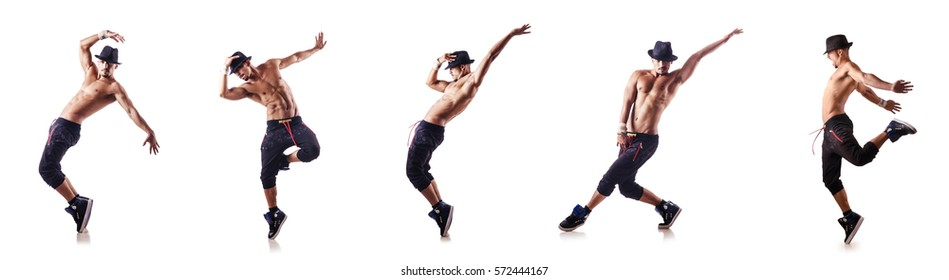 Ripped dancer isolated on the white