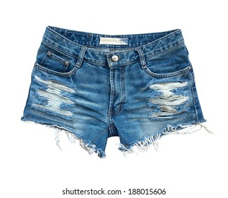 Ripped handmade jeans shorts isolated on white background.