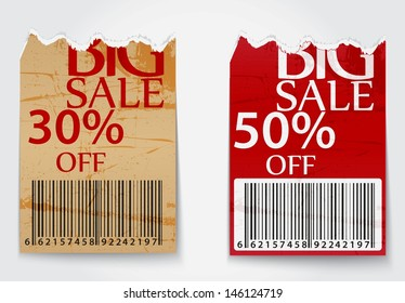 Ripped labels for business design background