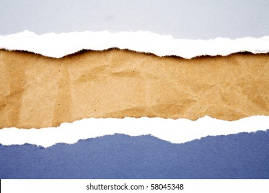 Ripped  paper on brown paper